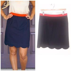 Stitch Fix Pixley Stacey Navy Scallop Skirt- M